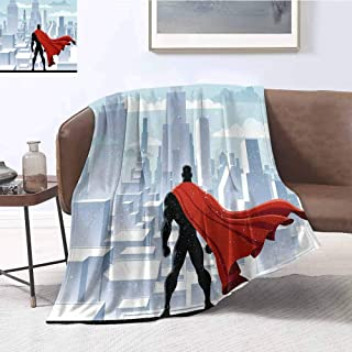 Luoiaax Superhero Comfortable Large Blanket Hero Watching Over City in Snowy Winter Savior Justice Urban Design Microfiber Blanket Bed Sofa or Travel W91 x L60 Inch Pale Blue Orange Black
