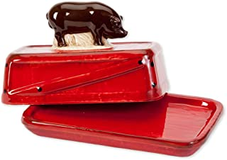Bits and Pieces - Ceramic Pig Butter Dish - Butter Dish With Lid Handle Cover - Farmhouse Home Décor