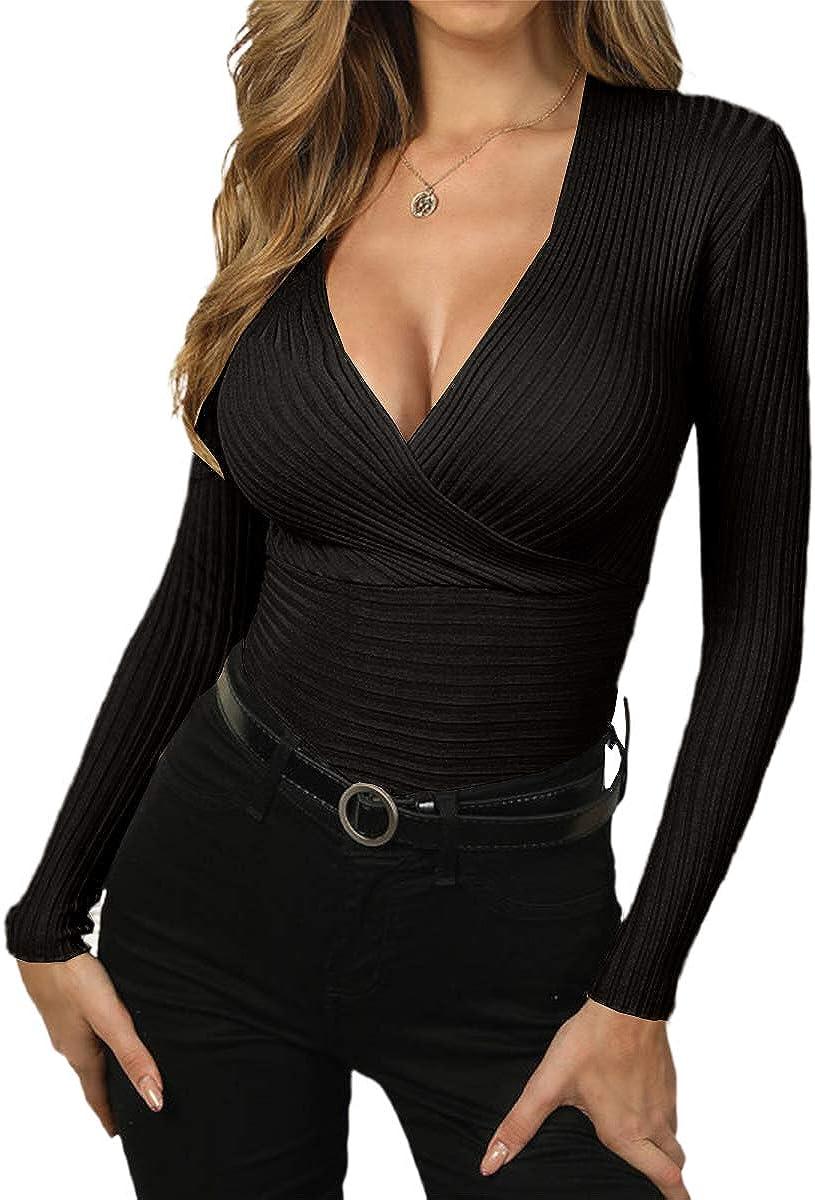 ZIWOCH Women's Deep V Popular product Neck Sexy Wrap Slim-fit Long Sweater Charlotte Mall Sleev