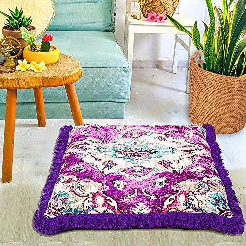 Mandala Life ART Funda de cojín de suelo para decoración bohemia, 66 cm, cojín cuadrado para meditación de algodón, diseño estampado, funda de almohada (66 cm, morado)