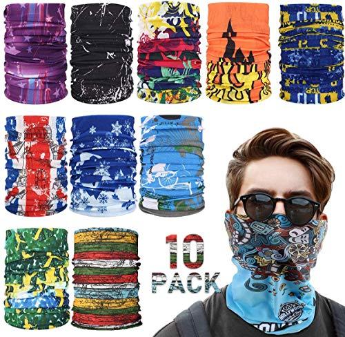 Bandanas Multifunktionstuch Kopftuch, 10 Stück Halstuch Kopftuch Radfahren Multifunktionstuch Schal Kopfbedeckung UV Residenz für Stirnband Winddicht Motorrad Skifahren Kopf Wrap