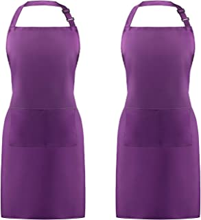 Syntus 2 Pack Adjustable Bib Apron Waterdrop Resistant with 2 Pockets Cooking Kitchen Aprons for BBQ Drawing, Women Men Chef, Purple