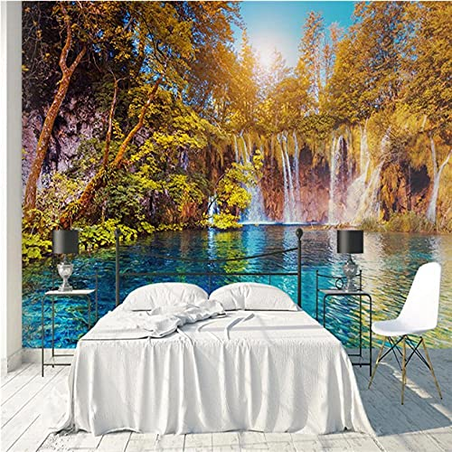 Guyuell Custom Photo Murals 3D Landscape Wallpapers Nature Painting Walls Papers with Tree River Pictures for Living Room Tv Home Decor-120X100Cm