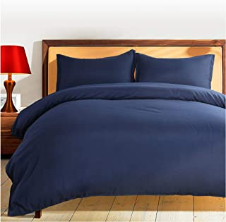BALICHUN Duvet Cover Set Queen Size Navy Blue Premium with Zipper Closure Hotel Quality Wrinkle and Fade Resistant Ultra Soft -3 Piece-1 Soft Microfiber Comforter Cover Matching 2 Pillow Shams