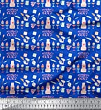 Soimoi Blau Baumwoll-Voile Stoff Cupcake Party Stoff