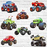 40 Pieces Monster Truck Cut-Outs, Monster Truck Decorations Monster Race Car Birthday Party Decorations for Monster Truck Theme Party Supplies Birthday Party DIY Home Decoration