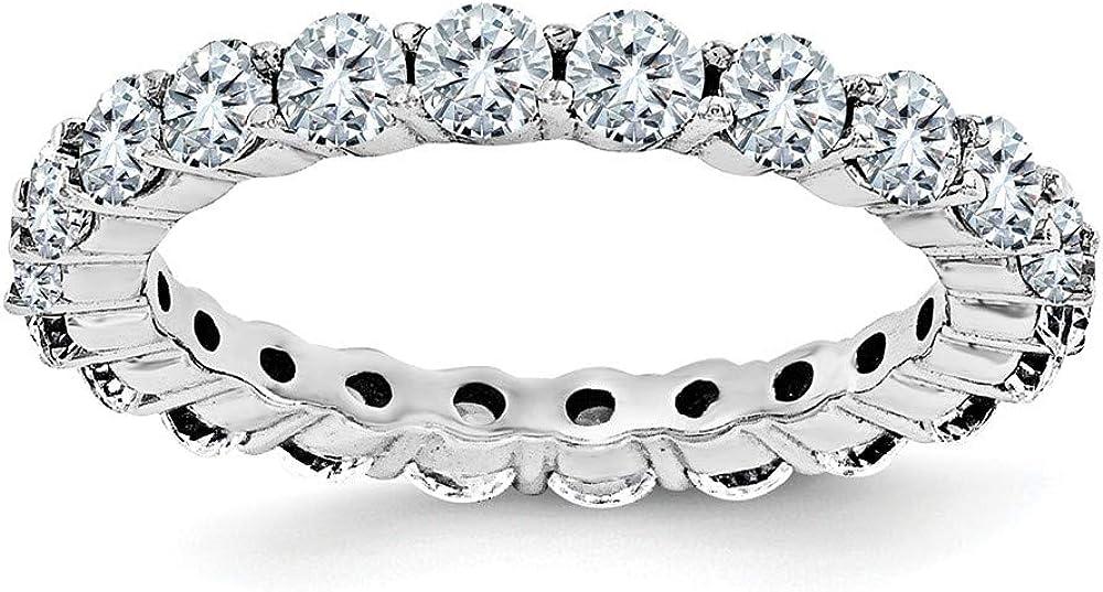 14k White Gold Moissanite Anniversary Wedding Band Eternity Ring Size 8.5 (2.4 cttw.)