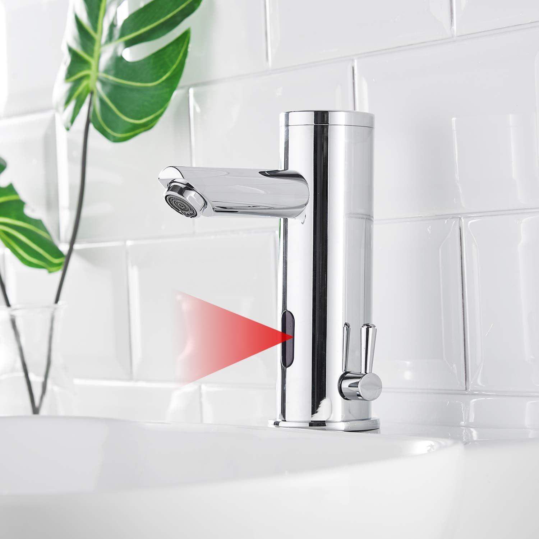 AIMADI Grifo de lavabo con sensor infrarrojo automático, para inducción, cromado