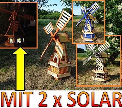 XXL windmühle, windmühlen 100 cm, zweistöckig 2 Balkone aus Holz, Gartenbeleuchtung, MIT SOLAR - AUTOMATIK / Solarleuchten + Solarmodul, Solarbeleuchtung DOPPEL-SOLAR LICHT WMH100or-MS 1 m groß orang