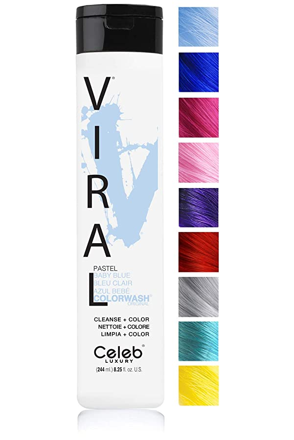 過度の数正直CELEB LUXURY セレブラグジュアリーウイルスColorwash:カラー堆積シャンプー、集中10の鮮やかなパステルカラーと、フェードを停止し、1クイックウォッシュ、クレンズ+カラー、硫酸塩フリー、虐待フリー、100%ビーガン 245ミリリットル パステルベビーブルー