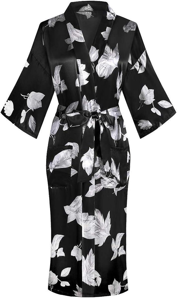 Womens Very popular Long Satin Floral Limited time sale Nightgown Kimono Bathrobe Printed