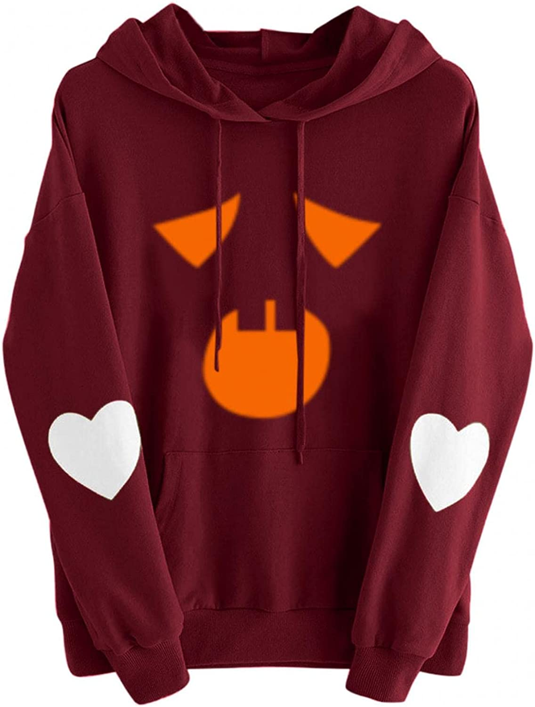 Women Halloween Max 72% OFF Hoodies Pumpkin Face Swe Long Free shipping on posting reviews Sleeve Lightweight
