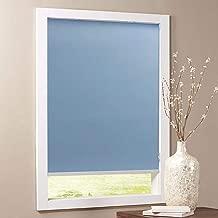 Keego Blackout Bathroom Roller Window Shades, Custom Made Oil Proof Waterproof an-ti UV Kitchen Blinds[Light Blue 100% Blackout,43