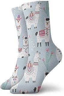 Kevin-Shop, Calcetines de Vestir Estampados para Hombre y Mujer Calcetines de Dibujos Animados Llama Coloridos Divertidos Novedad Crazy Crew