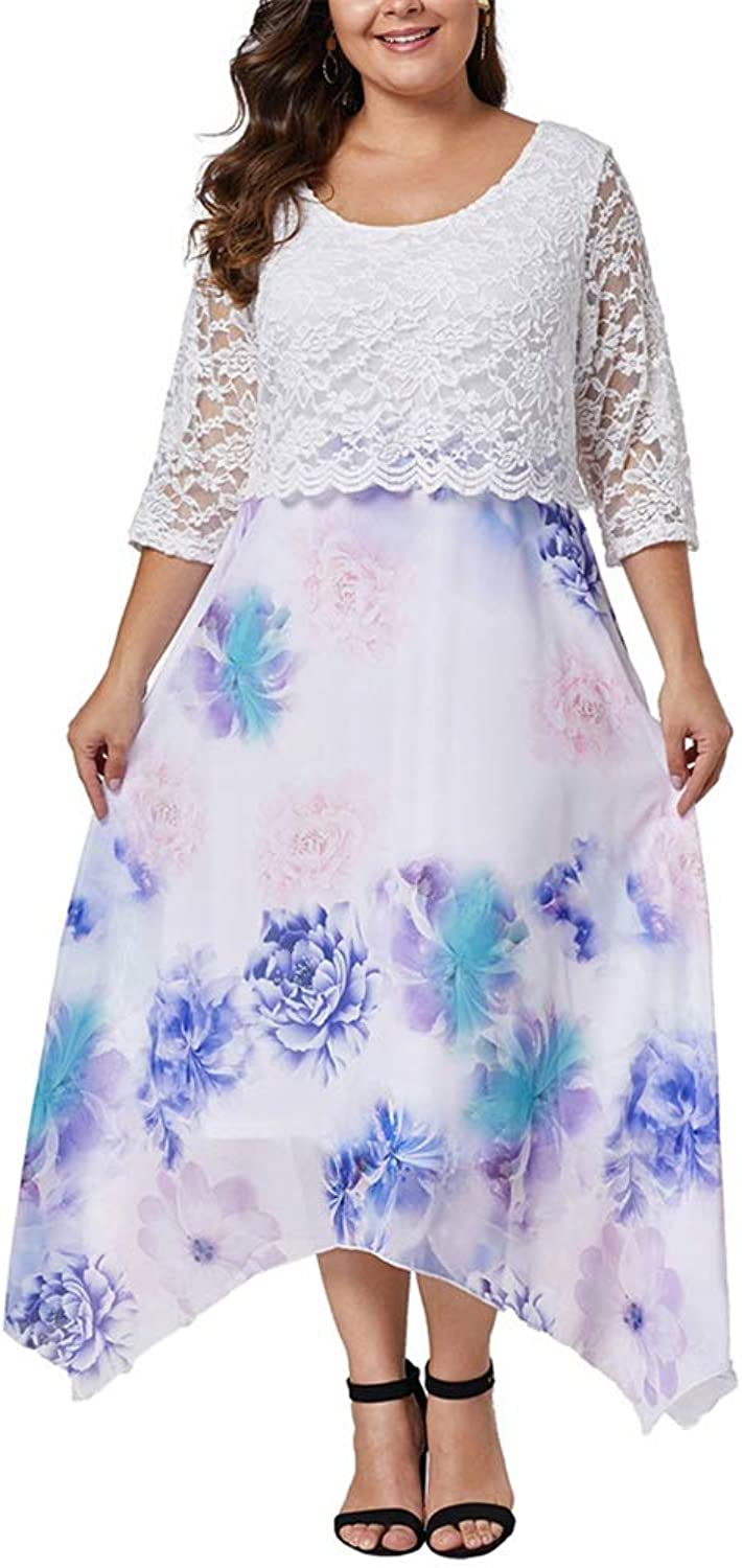 Ladies Dress Fashion Women Summer Holiday Dress Casual Large Size Round Neck Cropped Sleeve Printed Lace Long Section Fat Sister Dress for Casual Party Cocktail Dress Summer Sexy Dress