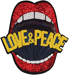 Yellow Large Heart Eye Sequins Patch Heart Eye Sew on Patches Embroidered Badge Motif Applique Compatible Clothing Jeans T-Shirt