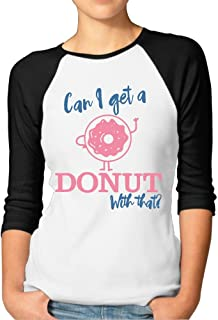 Sakanpo Women's Can I Get A Donut with That 3/4 Sleeve Baseball Tee Raglan T-Shirts Red