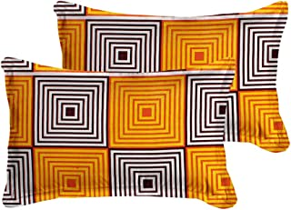 Luxury Crafts™Polycotton 200TC Pillow Cover Box Designer(Set of 2 pcs) (Orange)