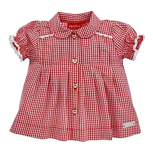 Alpenglück Baby-Trachtenbluse aus Baumwolle Gr. 116 I Schöne Mädchen-Bluse in Rot-Weiß I Karierte Trachtenmode I Blüschen aus Webware I Wunderschöne & Bequeme Kinderbekleidung
