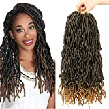 Nu Locs Crochet Hair 7 Packs Faux Locs Crochet Hair Synthetic Natural Wavy 18 Inch Goddess Locs Crochet Dreadlock Extensions Hair Twist Braids for Black Women (18 Inch, T1B/27#)
