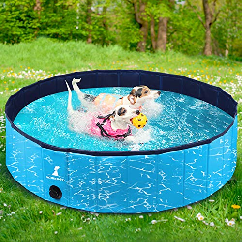 Wimypet Hundepool Schwimmbad für Hunde, Hundeplanschbecken Hundebad, Klappbares Haustier-Duschbecken mit Umweltfreundlichem PVC rutschfest (160 * 30cm Stil 1)