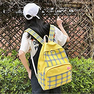 Double-Shoulder Bags Large-Capacity Heart Lattice Pattern Casual Double Shoulders Bag Casual Backpack Couple School Bag (Black) (Color : Yellow)