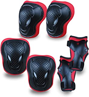 GEQID Kids Knee Pads and Elbow Pads Wrist Pad for Roller Skating Skate Protec Gear Rollerblade Bicycle Boys Youth 4-8-12 Y...