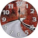 掛時計 壁掛け時計 アナログ クロック インテリア 円形 静音 可愛い-中秋の色の夢のようなアスファルト道路誰も超現実的な高速道路の旅 連続秒針 デジタル ウォールクロック おしゃれ デジタル時計 直径25cm