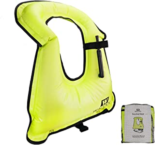 WACOOL Inflatable Snorkel Vest Safety Jacket Free Diving Portable Life Jacket for Swimming