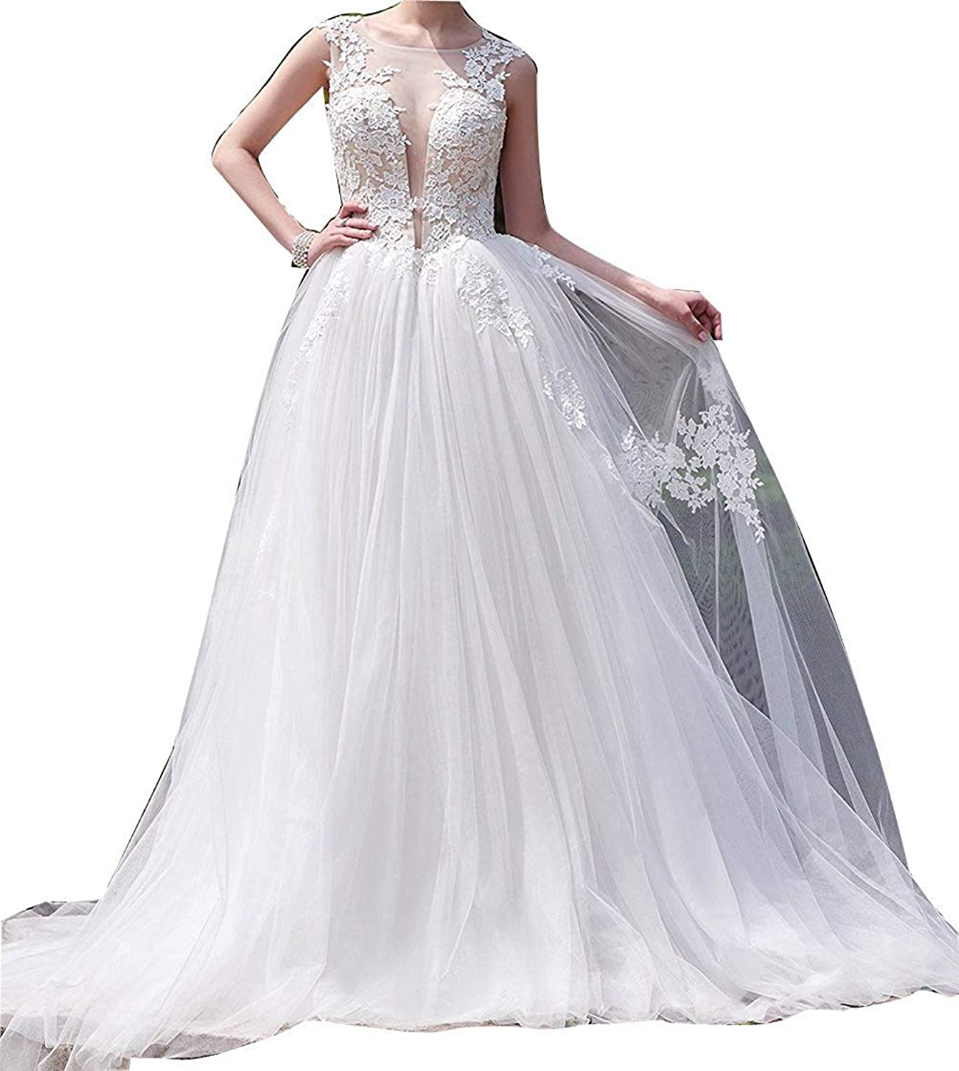 JQLD Sexy Lace Illusion Deep V Neck Wedding Dresses 2019 Long Backless Tulle Bridal Gowns