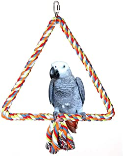 Hypeety Birds Rope Triangle Perch Adjustable Parrot Cage Stand Chewing Swing Toy Ropes for Small Medium Parrot Spiral Rope...