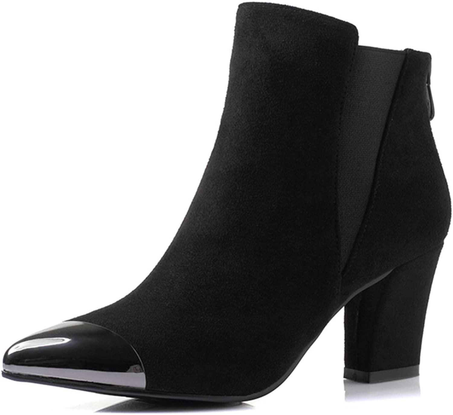 RHFDVGDS autumn Chelsea boots Coarse with Martin short tube with high heels boots fashionable pointy ankle boots
