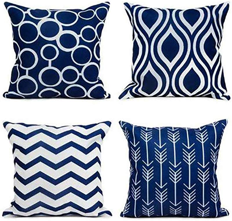 Onegirl Euro Geometric Decorative Throw Pillow Covers 4 Piece 18 X18 Linen Couch Pillow Cases Square Pillowcase Waist Cushion Cover For Sofa Couch Bed And Car