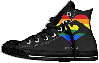 a55fece543953d Womens Love Is Love LGBT Rainbow Heart High Top Sneakers Shoes Lace Up  Antiskid Walking Canvas