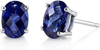 14 Karat White Gold Oval Shape 2.00 Carats Created Blue Sapphire Stud Earrings