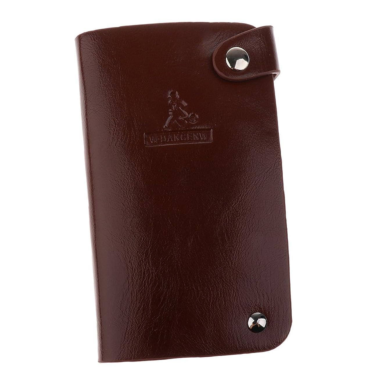 追い越す陰気バックグラウンド折り財布 PUレザー クレジットカードホルダー カードケース カードホルダー 収納 30枚 全3色