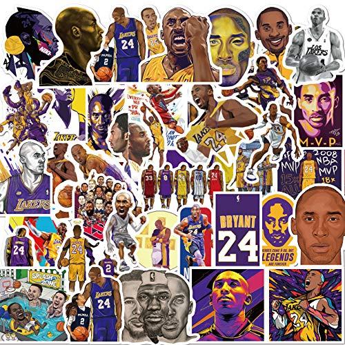 Pieoaoe - 50 adesivi n. 24 per pallacanestro NBA, divertenti e creativi, per bottiglia d'acqua, laptop, cellulare, skateboard, bicicletta, moto, auto, bagagli, 50 pezzi