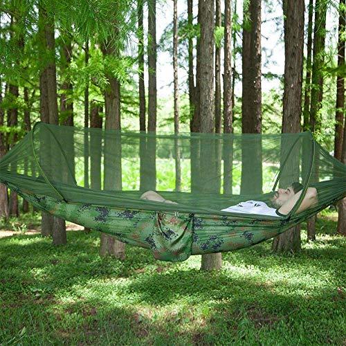 XHLLX Hamaca de gran tamaño para exteriores con mosquiteros, tela de paracaídas, mosquitera, hamaca de 300 kg, capacidad de carga para exterior y jardín interior