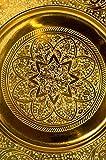 Orientalisches rundes Tablett aus Metall Sidra Gold 30cm | Marokkanisches Teetablett in der Farbe Gold | Orient Goldtablett goldfarbig | Orientalische Dekoration auf dem gedeckten Tisch - 2