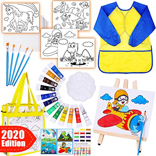GoodyKing Acrylic Paint Art Supplies for Kids - Arts Set Painting Kit with Canvas Brushes Easel Smock Bag for Boys Girls Age 4 5 6 7 8 9 Years Old Gift School Creativity Learning Activity Project