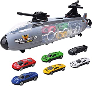 NiceBUY 7 Pcs Diecast Car Toys Set Submarine Toys, Play Vehicles in Carrier Truck (Multicolored)