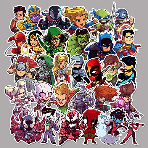Dc Marvel Superhero Waterproof Car Sticker Balance Car Scooter Bike Cute Helmet Sticker 50 Pcs