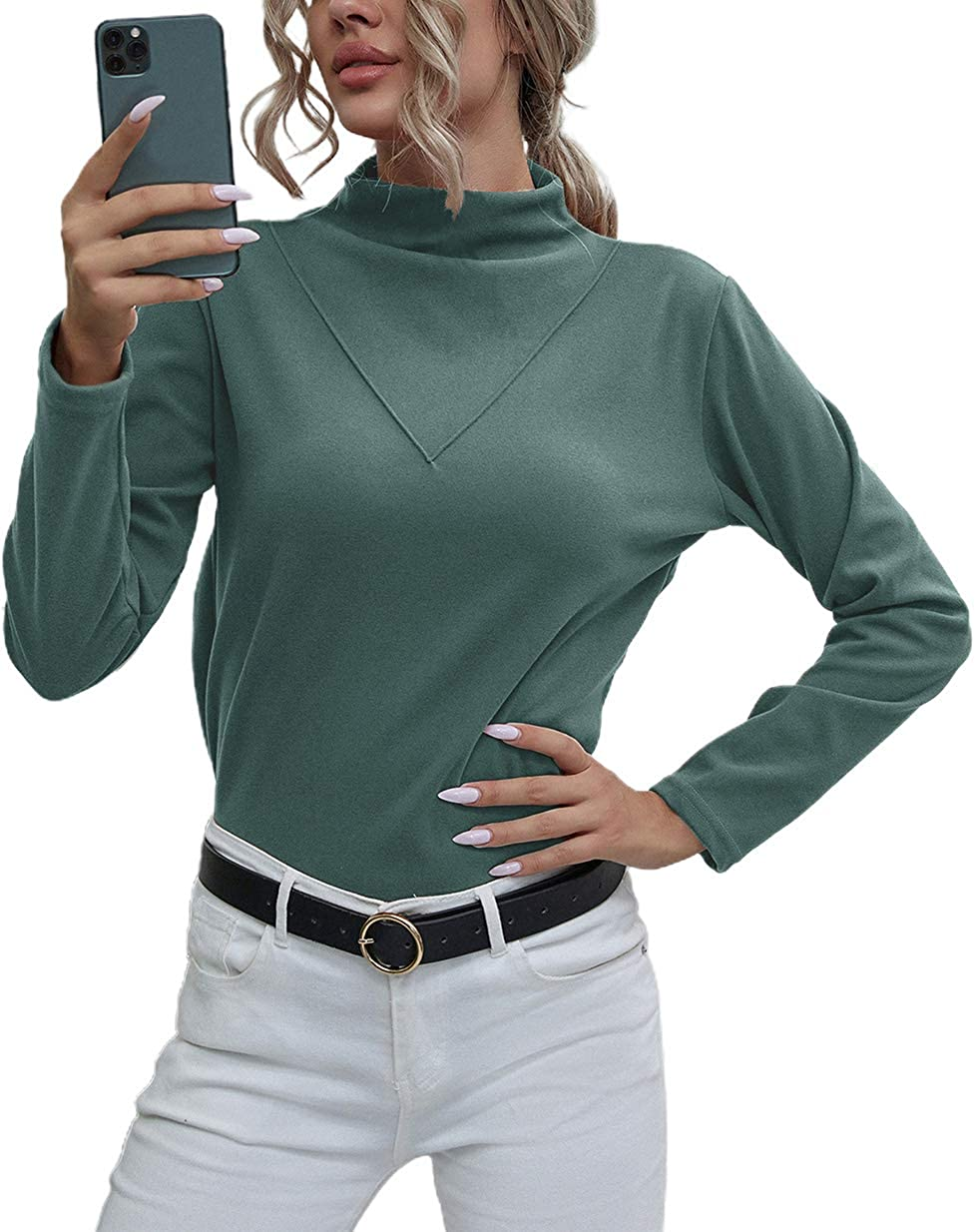 chouyatou Women's Comfy Brushed Mock Neck Pullover Thermal Layer Shirt Undershirt
