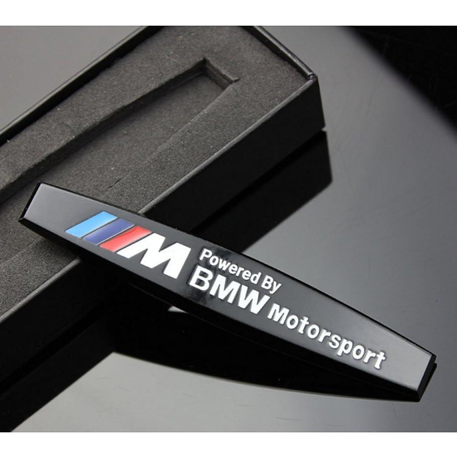 会議作家大洪水S-WEKA pcメタル ///Mのエンブレムバッジステッカー?モータースポーツパワー 。BMW X3?X5?E90?E53シリーズのメタル3D立体ラベル (2pc 黒)