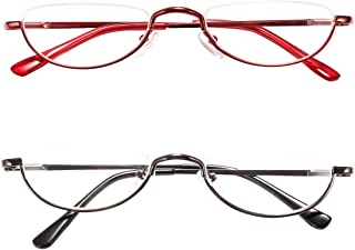 Retro Designer Alloy Half Moon REAVEE 2-Pack Reading Glasses Women Half Frame Stylish Slim Reader Glasses with Pouch,Red and Gun Grey 1.5