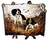 Pure Country Weavers English Springer Spaniel Woven Large Soft Comforting Blanket 100% Cotton Made in USA 72x54