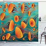 ABAKUHAUS Qualle Duschvorhang, Tangerine Töne Tier, Klare Farben aus Stoff inkl.12 Haken Farbfest Schimmel & Wasser Resistent, 175x200 cm, Teal & Multicolor