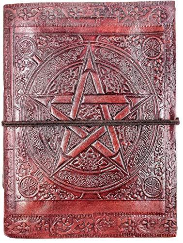 Chic & Zen - diario, agenda, blocchetto per appunti, Vera Pelle, pentacolo, Pentagramma 13 cm * 17 cm, carta premium
