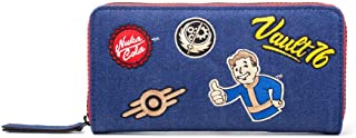 Fallout Fallout 76 Vault Denim With Embroidered Patches Purse Around Zip Wallet Portamonete, 24 cm, Blu (Blue)