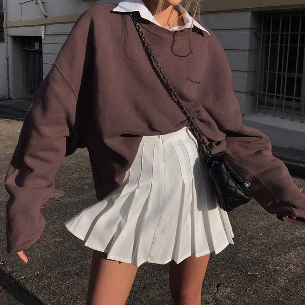 Shownicer Sweat Shirt Femme Sweatshirt Fille sans Capuche Casual L/âche Col Rond Automne Hiver Vintage Chic Jumper Manches Longues Pull-Over Streetwear Top